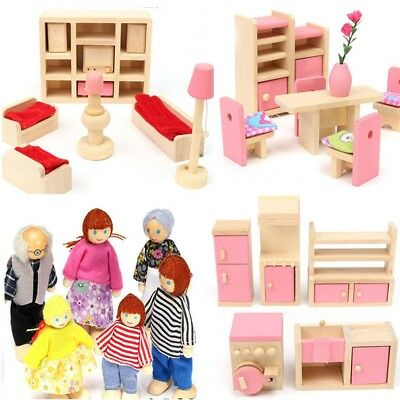 Wooden Furniture Room Set Dolls House Family Miniature Kids Children Play Toy UK