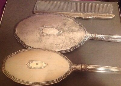 Antique Sterling Silver Grooming Set Mirror Brush Comb  Slb Saart Brothers
