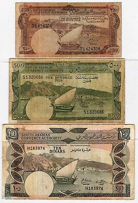 Yemen (South Arabian Currency) 250 + 500  Fils and 10 Dinars (See Scan) #619