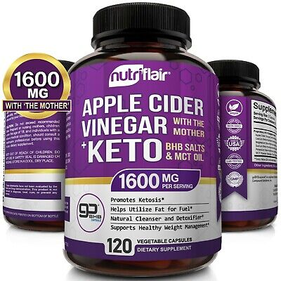 ☀ Raw Apple Cider Vinegar Capsules with the Mother + Keto Diet Pills BHB Salts