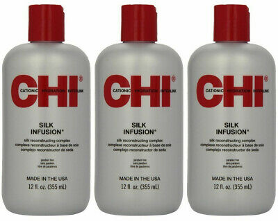CHI Silk Infusion Reconstructing Complex, 12 Oz (Pack of 3 Bottles), Fresh, Auth
