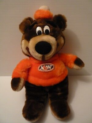 "A & W Great Root Bear 17"" Plush Bear Vintage Mascot Rooty"