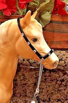 BREYER Traditional CM Arabian Black Leather Halter w/ Rhinestones & Lead Rope!