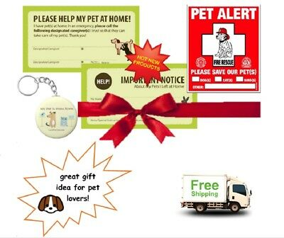 Pet Alert Fire Rescue Sticker/Decal ~ Emergency Kit Cats Dogs Birds Fish ~ Gift