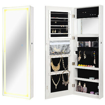 Lockable Jewelry Cabinet Wall Door Mounted Armoire Organizer with LED Strip