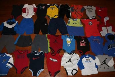 Lot 30 Baby Boy One-Piece Outfits Shirts Pants Nike Air Jordan Ua 6/9 9/12 Month