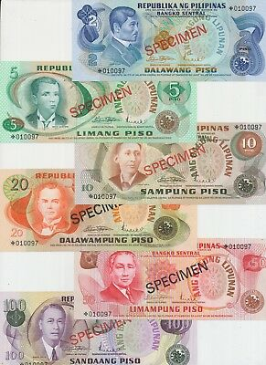 Philippines set with 6 banknotes 2 - 100 Piso collectors SPECIMEN in UNC