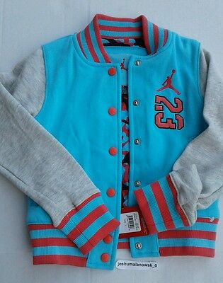 New W/ Tags Air Jordan Youth Size Small Coat Button Up Jacket Tide Blue Lava