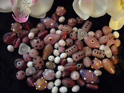 Bulk Lot  Approx  200 grams  OF MIXED GLASS BEADS!!!   NEW