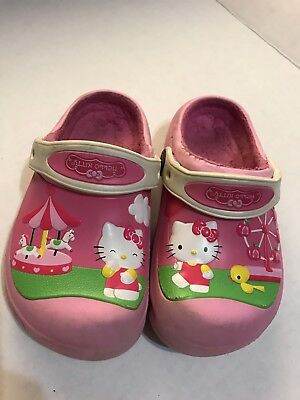 Girls Hello Kitty Crocs Pink Carnival Fur Lined Slip On Shoes Kids Clogs 10 11