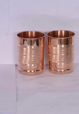 Handmade 2 Set of Pure Solid Copper Water Glass Ayurvedic Health Benifit