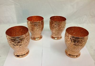 Set of 4 Pure Solid Copper Designer Drinking Glass Cup 350 ml Each