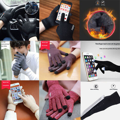 UK Women Mens Touch Screen Wool Knit Winter Gloves Warm Texting Smartphone Phone