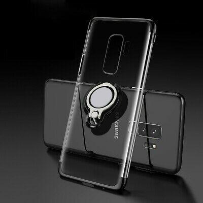 For Samsung Galaxy Note 9 S9 S8 Magnetic Ring Holder Plating Soft TPU Clear Case