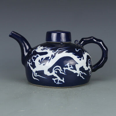Beautiful Chinese Yuan Dynasty Blue Glaze Porcelain Dragon Teapot