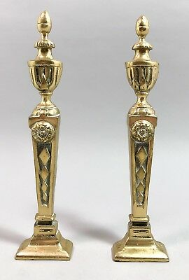 Pair 2 vintage brass fireplace surround columns acorn finials floral ornate