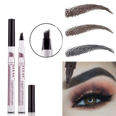 Micro 4 Fork Tip Eyebrow Tattoo Pen Fine Sketch Eyebrow Enhancer Dye Tint Pen