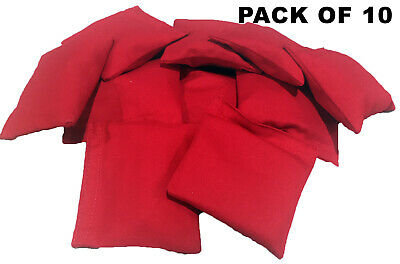 Cotton Throwing Bean Bags - Red (Pack of 10)