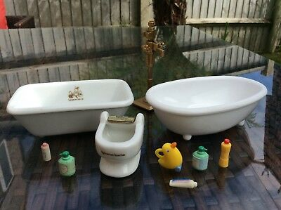 sylvanian families Vintage Ceramic Baths Set Bathroom Toilet Missing Seat