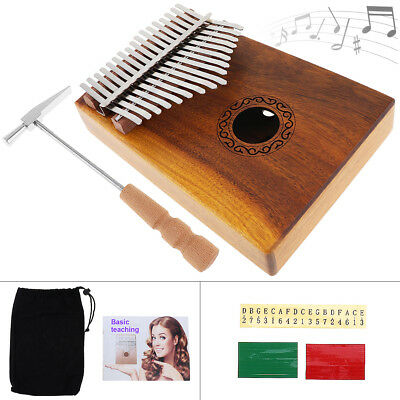 17Key Thumb Piano Kalimba Single Board Mahogany Body Finger Percussion Music HQ