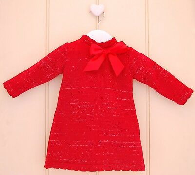 Baby Girls Spanish Style Red Knitted Bow Silver Sparkle Dress *Small Fitting*