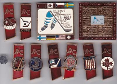 10 Original pin Ice Hockey World Championship Finland 1991