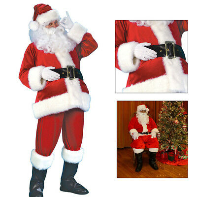 5PCS Christmas Santa Claus Costume Fancy Dress Adult Suit Cosplay Party Outfit