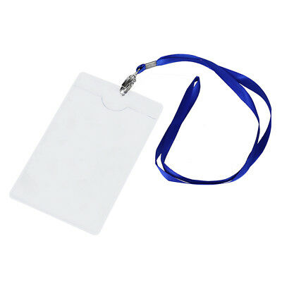 1X(2 Pcs Vertical Clear Plastic ID Badge Card Holder w Lanyard Neck Strap W4T6)