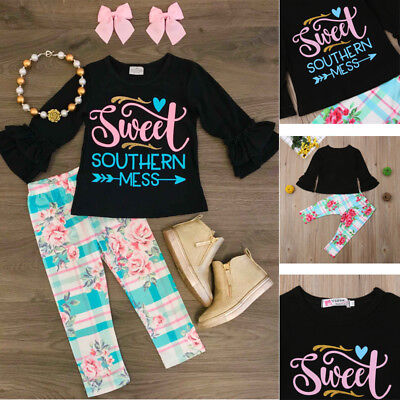 USA Toddler Kids Baby Girls Long Sleeve Tops T-shirt Floral Pants Outfit Clothes