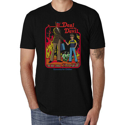 Deal with the Devil Funny Ringer T-shirts Men's Tops Cotton Short Sleeve tee