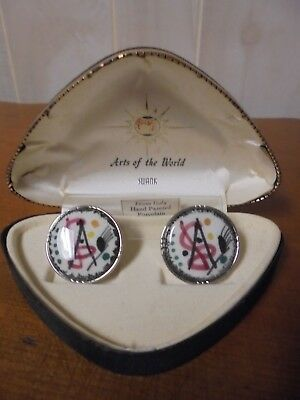 NOS~ Vintage Swank Arts of the World Porcelain Art Deco Cuff Links in Hard Trian