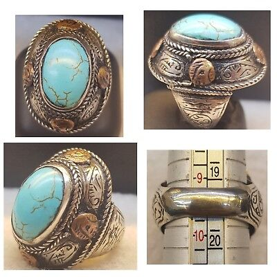 Wonderful Old Silver Medieval Turquoise Stone Beautiful Ring   #  R4 i