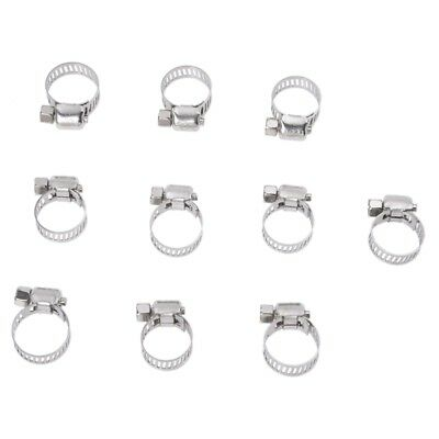 1X(10 Pcs 9mm-16mm Adjustable Stainless Steel Worm Drive Hose Clamp Y1O6)