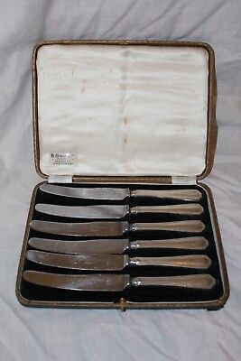 Set of 6 cake knives with hallmarked silver handles Viners Ltd Sheffield 1936