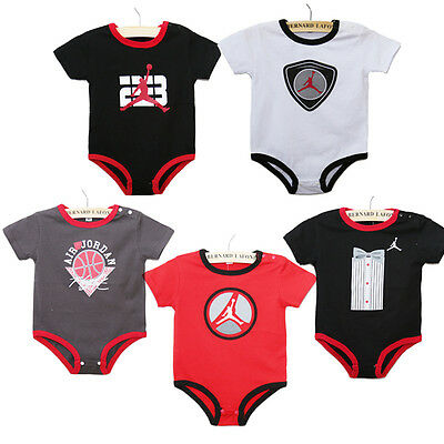 Baby Boys Short Sleeve BASKETBALL Romper Babygrows Fashion Jordan Print Clothes