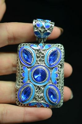 Unique Chinese Miao silver hand-made carved Cloisonne pendant   a08