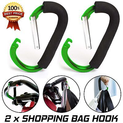 New Buggy Mummy Clips Pram Pushchair Shopping Bag Hook Carabiner Clip x 2