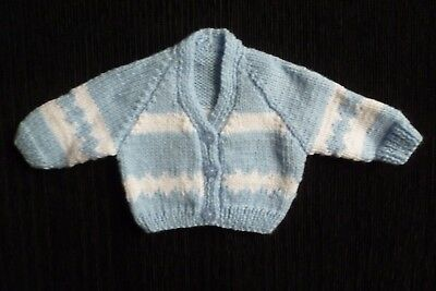Baby clothes BOY newborn 0-1m NEW! super soft, blue/white cardigan SEE SHOP!