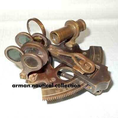 NAUTICAL ANTIQUE MARITIME BRASS SEXTANT VINTAGE COLLECTIBLE 3 INCHx3