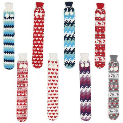 Extra Long Hot Water Bottle 72cm PVC With Knitted Removable Cover 6 Colors