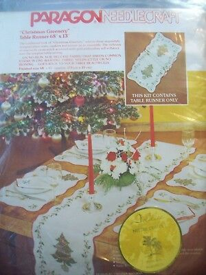 """Christmas Table Runner Vintage Paragon Stamped Cross Stitch Greenery 68""""x13"""" NEW"""