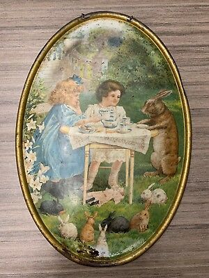 1897 C D Kenny Coffee  Tin Litho Advertising Tray Wall Plaque Flue Cover Great!!