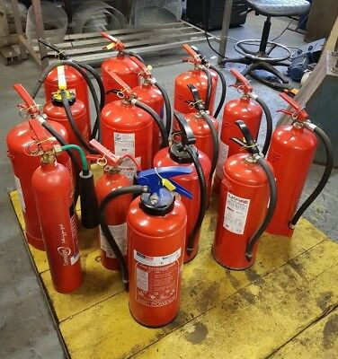 Job lot  16 x Fire Extinguishers co2,water,foam,powder