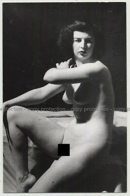 Sitting Female Nude (Vintage Photo PC Ludwig Geier ~1930s/1940s)