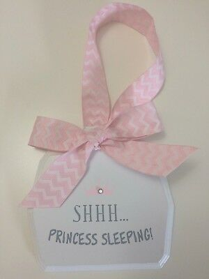 """Baby Girl's Room Decorative Wall Plaque """"Shhh Princess Sleeping"""" Quote Pink"""