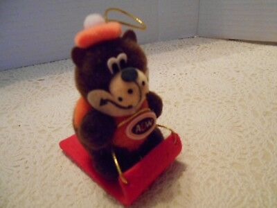 Rare Vintage The Great A&W Root Beer Bear On Toboggan Sled Ornament Plush Korea