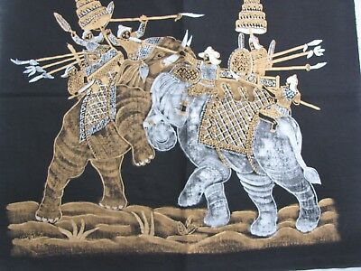 Oriental picture of elephants printed on fabric