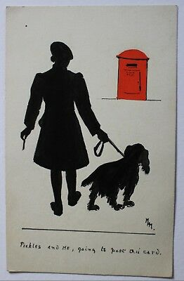 Early Silhouette PC Letterbox Art Drawn Dog & Owner