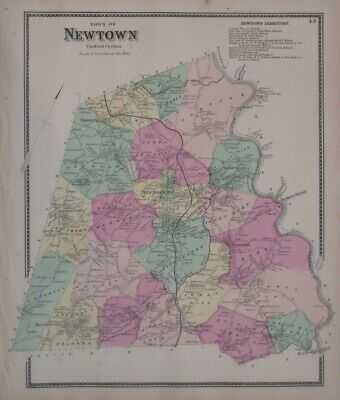 Original 1867 Hand Colored Map NEWTOWN Fairfield County Connecticut Sandy Hook