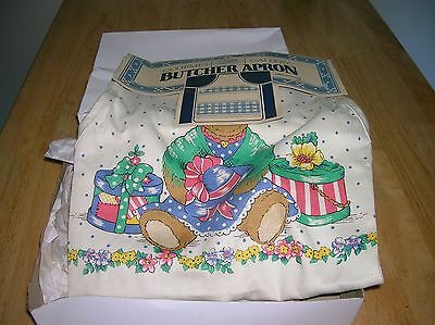 New old stock Gourmet Gallery Butcher Apron Bear with hat design